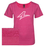 Ladies Dark Fuchsia Heather Tri-Blend Lace Tee-A