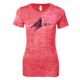 Next Level Ladies Junior Fit Fuchsia Burnout Tee-A Foil