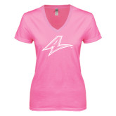 Next Level Ladies Junior Fit Deep V Pink Tee-A