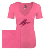 Next Level Ladies Vintage Pink Tri Blend V-Neck Tee-A Hot Pink Glitter