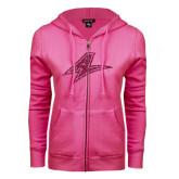 ENZA Ladies Fuchsia Fleece Full Zip Hoodie-A Hot Pink Glitter