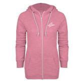 ENZA Ladies Hot Pink Marled Full Zip Hoodie-A
