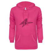 ENZA Ladies Hot Pink V Notch Raw Edge Fleece Hoodie-A Hot Pink Glitter