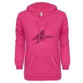 ENZA Ladies Hot Pink V Notch Raw Edge Fleece Hoodie-A Hot Pink Glitter