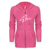 ENZA Ladies Hot Pink Light Weight Fleece Full Zip Hoodie-A