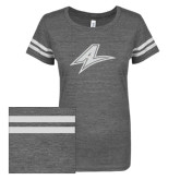 ENZA Ladies Dark Heather/White Vintage Triblend Football Tee-A White Soft Glitter