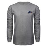 Grey Long Sleeve T Shirt-A w/ Bulldog Head