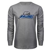 Grey Long Sleeve T Shirt-Bulldogs w/ Bulldog Head
