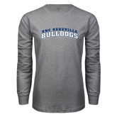 Grey Long Sleeve T Shirt-Arched UNC Asheville Bulldogs