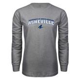 Grey Long Sleeve T Shirt-Arched University of North Carolina Asheville Bulldogs