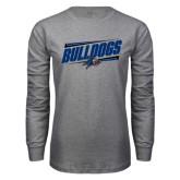 Grey Long Sleeve T Shirt-Slanted Bulldogs w/ Logo