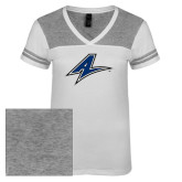 Ladies White/Heathered Nickel Juniors Varsity V Neck Tee-A