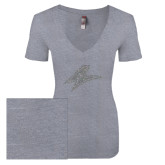 Next Level Ladies Vintage Heather Tri Blend V Neck Tee-A Silver Soft Glitter