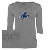 Ladies Grey Heather Tri Blend Lace 3/4 Sleeve Tee-A