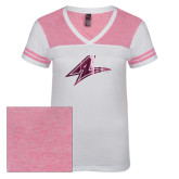 Ladies White/Bright Pink Juniors Varsity V Neck Tee-A Foil