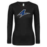 Ladies Black Long Sleeve V Neck Tee-A
