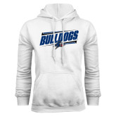 White Fleece Hood-Slanted Bulldogs w/ Logo