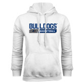 White Fleece Hood-Bulldogs Basketball Bar