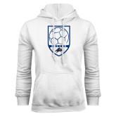 White Fleece Hood-Soccer Shield