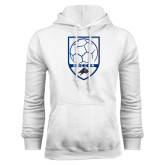 White Fleece Hoodie-Soccer Shield