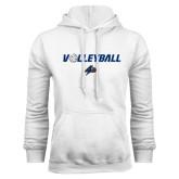 White Fleece Hoodie-Volleyball w/ Ball
