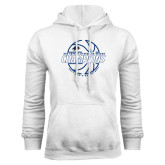 White Fleece Hoodie-Mens Basketball Champions with Ball