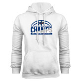 White Fleece Hoodie-Mens Basketball Champions Half Ball