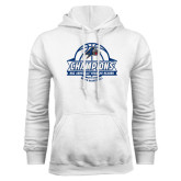 White Fleece Hoodie-Mens Basketball Champions Ball with ribbon