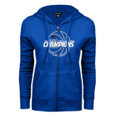 ENZA Ladies Royal Fleece Full Zip Hoodie-Mens Basketball Champions with Ball