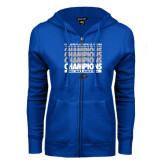 ENZA Ladies Royal Fleece Full Zip Hoodie-Mens Basketball Champions Stacked