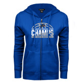 ENZA Ladies Royal Fleece Full Zip Hoodie-Mens Basketball Champions Half Ball