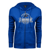 ENZA Ladies Royal Fleece Full Zip Hoodie-Mens Basketball Champions Ball with ribbon