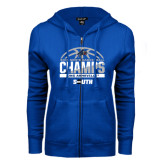 ENZA Ladies Royal Fleece Full Zip Hoodie-2017 Mens Basketball Champions Half Ball