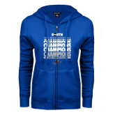 ENZA Ladies Royal Fleece Full Zip Hoodie-2017 Mens Basketball Champions Repeating