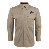 Khaki Long Sleeve Performance Fishing Shirt-A w/ Bulldog Head