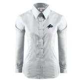 Ladies Red House White Long Sleeve Shirt-A w/ Bulldog Head