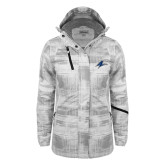 Ladies White Brushstroke Print Insulated Jacket-A