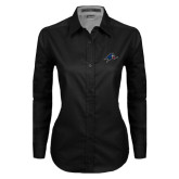 Ladies Black Twill Button Down Long Sleeve-A w/ Bulldog Head