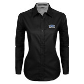 Ladies Black Twill Button Down Long Sleeve-Arched UNC Asheville