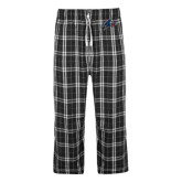 Black/Grey Flannel Pajama Pant-A w/ Bulldog Head