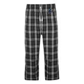 Black/Grey Flannel Pajama Pant-A w/ Bulldog Head