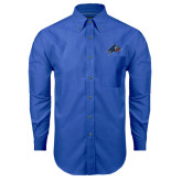Mens Royal Oxford Long Sleeve Shirt-A w/ Bulldog Head