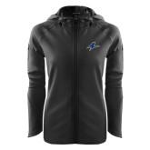Ladies Tech Fleece Full Zip Black Hooded Jacket-A