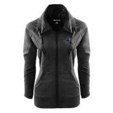 Ladies Sport Wick Stretch Full Zip Black Jacket-A w/ Bulldog Head