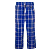 Royal/White Flannel Pajama Pant-A w/ Bulldog Head