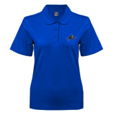 Ladies Easycare Royal Pique Polo-A w/ Bulldog Head