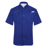 Columbia Tamiami Performance Royal Short Sleeve Shirt-A w/ Bulldog Head