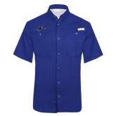 Columbia Tamiami Performance Royal Short Sleeve Shirt-A w/ Bulldog Head