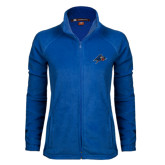 Ladies Fleece Full Zip Royal Jacket-A w/ Bulldog Head