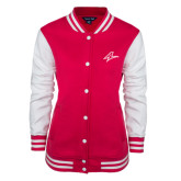 Ladies Pink Raspberry/White Fleece Letterman Jacket-A